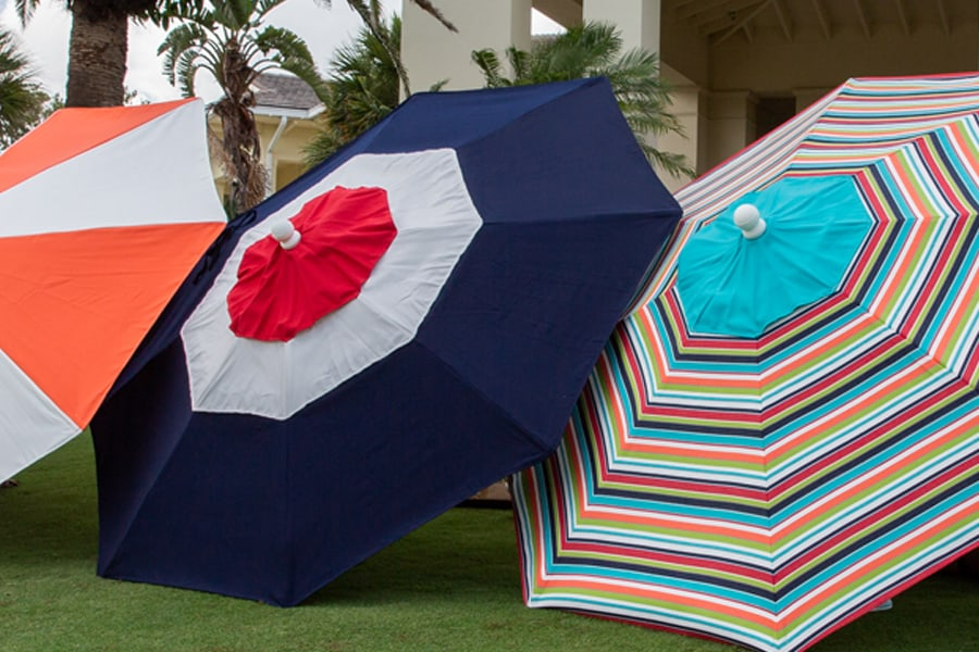 Umbrellas in front of clubhouse