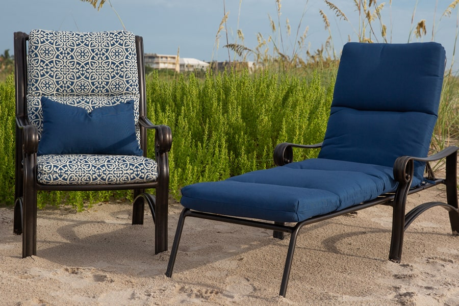 outdoor furniture with cushions on beach