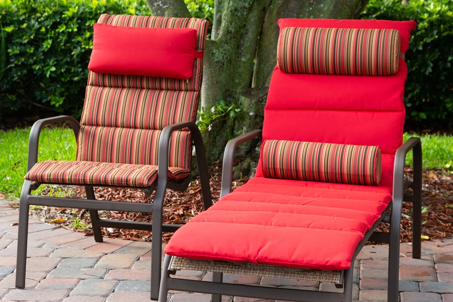 outdoor furniture with cushions on patio