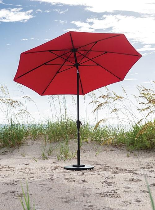 classic red 11 foot market umbrella